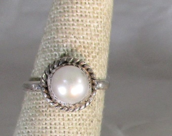 genuine cultured freshwater pearl handmade sterling silver ring size 6