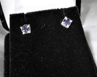 genuine purple amethyst gemstone handmade sterling silver stud earrings