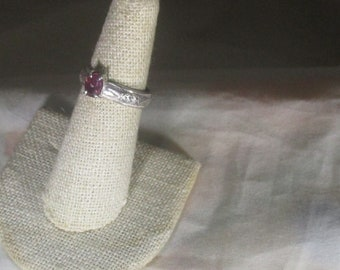 genuine Mozambique ruby gemstone handmade sterling silver ring size 6 1/2