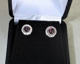 genuine garnet handmade sterling silver stud earrings