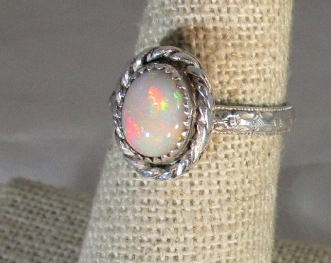 genuine Ethiopian opal gemstone handmade sterling silver solitaire ring  size 6 1/2