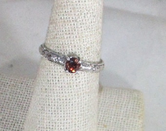 Genuine red zircon gemstone handmade sterling silver solitare ring size 7