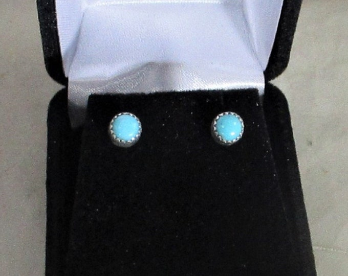 Arizona turquoise handmade sterling silver stud earrings