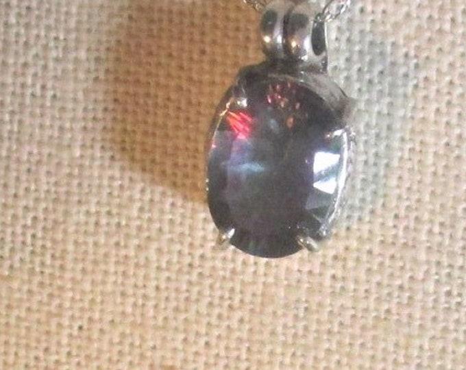 genuine mystic topaz gemstone handmade sterling silver pendant necklace
