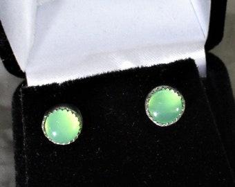 genuine Australian chrysoprase gemstones handmade sterling silver stud earrings