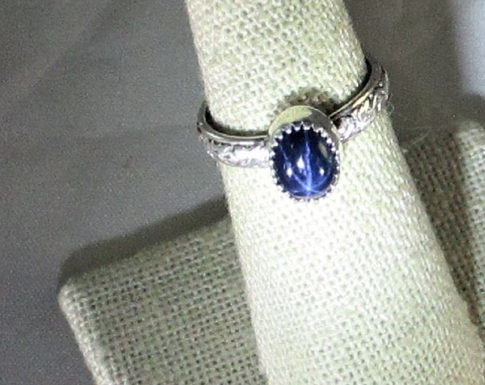 genuine blue 6 ray star sapphire handmade sterling silver solitaire ring size 7