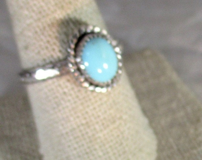 genuine Arizona turquoise handmade sterling silver solitaire ring size 10