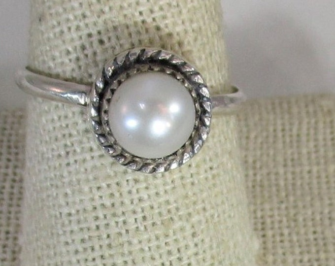 genuine freshwater cultured pearl handmade sterling silver ring size 10 1/2