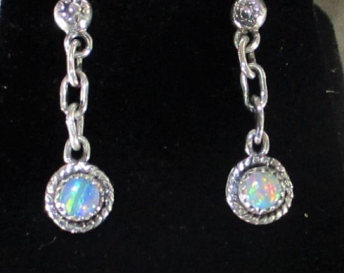genuine high grade Australian opal handmade sterling silver dangle stud earrings