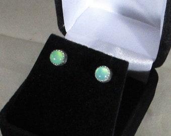 genuine chrysoprase gemstone sterling silver stud earrings