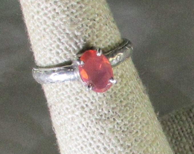 genuine faceted pink opal gemstone handmade sterling silver solitaire ring size 5
