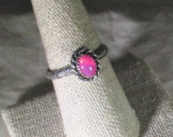 genuine hot pink Ethiopian opal gemstone handmade sterling silver statement ring size 8 1/2