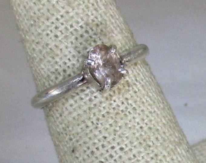 genuine peach morganite gemstone handmade sterling silver solitaire ring size 6