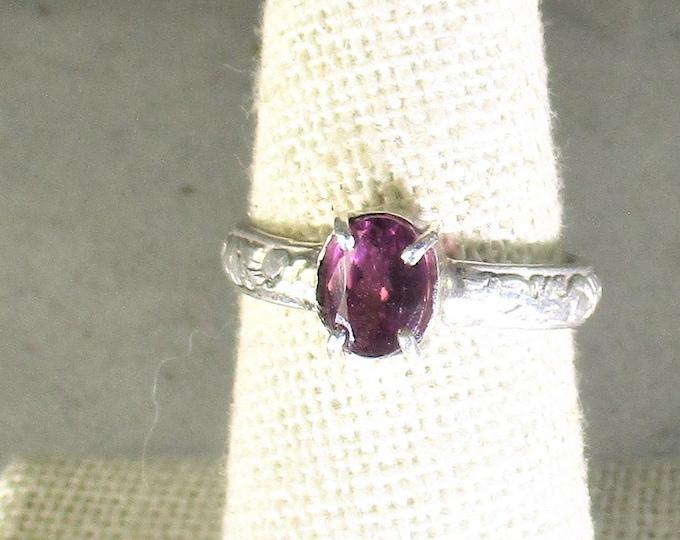 Handmade natural raspberry garnet gemstone handmade sterling silver solitaire ring size 7 1/2