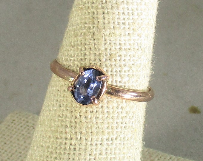 genuine flawless cornflower blue sapphaire handmade 14k rose gold solitaire ring size 7 1/2