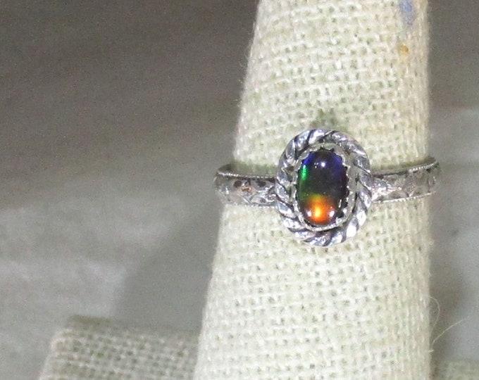 genuine Canadian tri-color ammolite gemstone handmade sterling sliver ring size 6