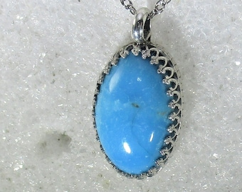 Old stock Kingman high blue turquoise gemstone handmade sterling silver pendant necklace