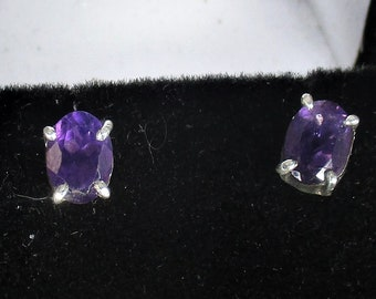genuine amethyst gemstone handmade sterling silver post earrings