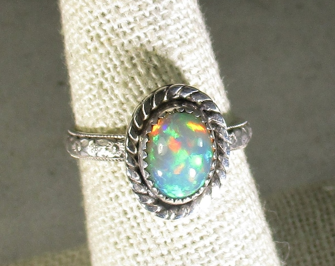 genuine Ethiopian opal gemstone handmade sterling silver solitaire ring size 7 1/4