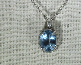 genuine Swiss topaz gemstone handmade sterling silver pendant necklace