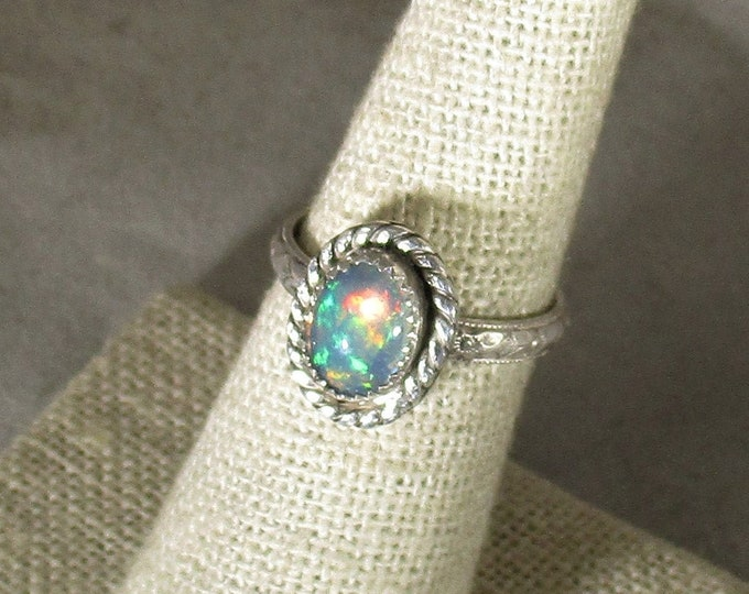 genuine Ethiopian opal gemstone handmade sterling silver solitaire statement ring size 7
