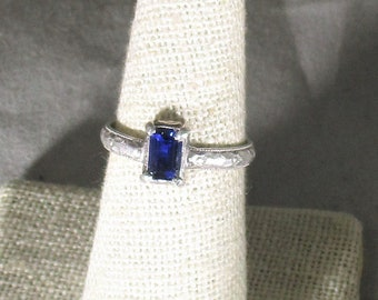 genuine blue sapphire gemstone handmade sterling silver solitaire ring size 7 1/2