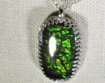 Genuine Canadian ammolite handmade sterling silver pendant necklace