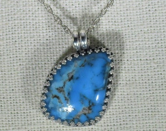 genuine old stock Kingman mine Ithaca Peak high blue turquoise handmade sterling sivler pendant necklace