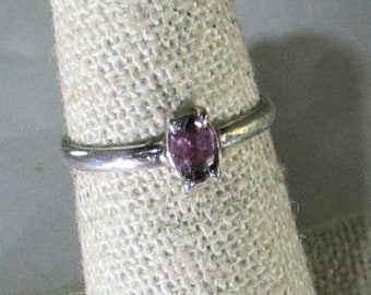 genuine pink sapphire gemstone is set in handmade sterling silver solitaire ring size 6