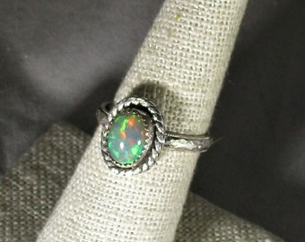 Genuine Ethiopian opal gemstone handmade sterling silver solitaire statement ring size 7 1/4