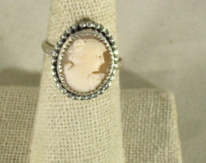 genuine hand carved Italian shell cameo handmade sterling silver ring size 7 1/2
