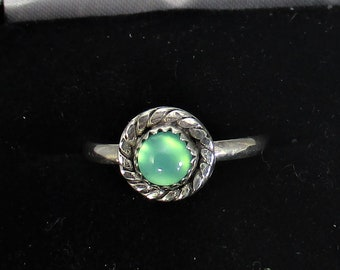 genuine chrysoprase gemstone handmade sterling silver stacking statment ring size 6 1/4