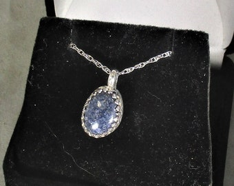 genuine lapis gemstone handdmade sterling silver pendant necklace