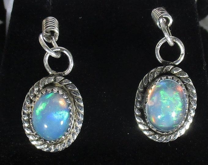 genuine Ethiopian opal gemstones handmade sterling silver dangle earrings