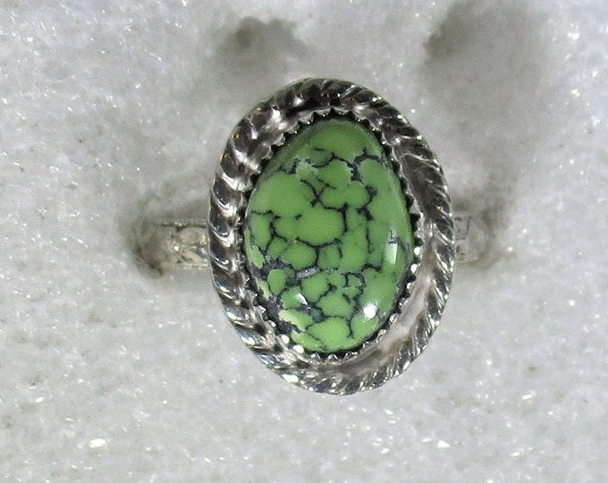 rare lime green spider web turquoise gemstone handmade sterling silver statement ring size 7