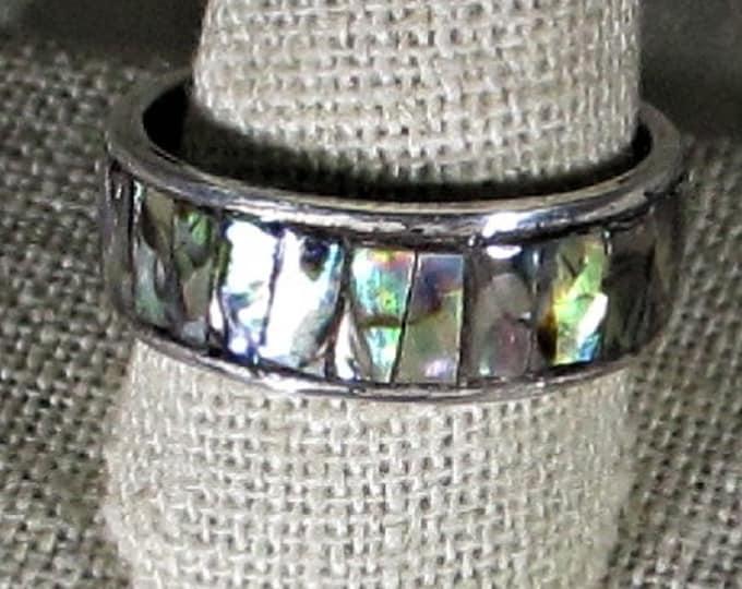 select paua shell ( abalone) handmade sterling silver ring size 12 1/2