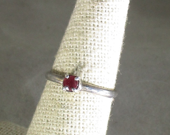 genuine ruby handmade sterling silver stacking ring size 6 1/4