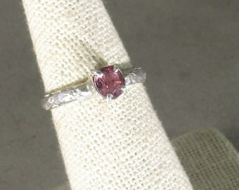 Genuine hot pink spinel gemstone handmade sterling silver solitaire ring size 7