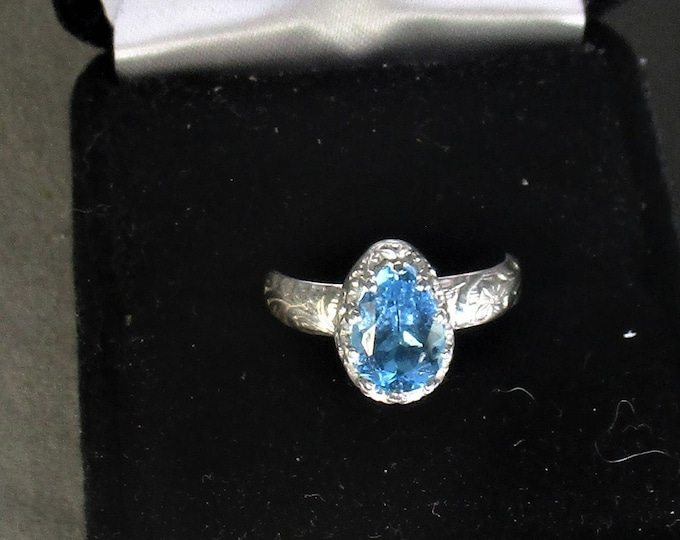 genuine Swiss blue topaz gemstone handmade sterling silver statement ring size 7