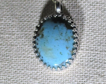 genuine old stock Kingman turquoise gemstone handmade sterling silver pendant necklace