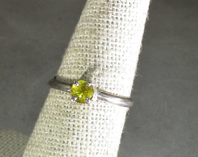 genuine canary yellow sapphire gemstone handmade sterling silver solitaire ring size 6 1/2