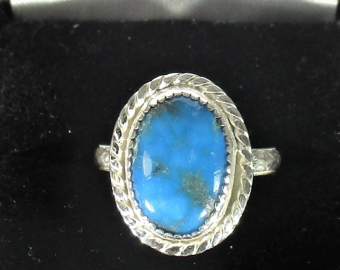 genuine Arizona Kingman mine turquoise gemstone handmade sterling silver statement ring size 7