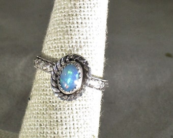 Genuine Ethiopian opal gemstone handmade sterling silver statement ring size 5 1/2