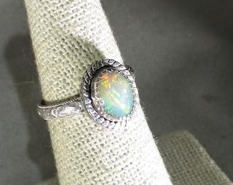 Ethiopian opal gemstone handmade sterling silver statement ring size 6 1/2