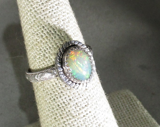Ethiopian opal gemstone handmade sterling silver statement ring size 6 1/2