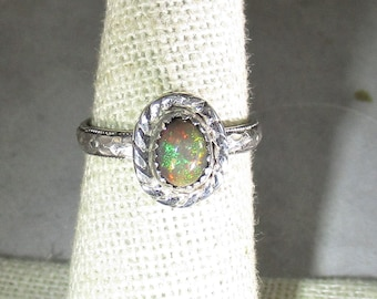 genuine smoked Ethiopian opal gemstone handmade sterling silver solitaire ring size 6