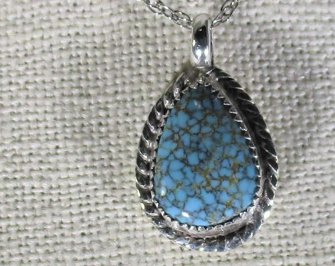 genuine spider web turquoise gemstone handmade sterling silver pendant necklace
