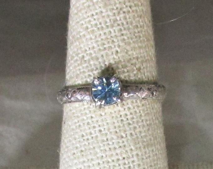 genuine blue zircon gemstone handmade sterling silver solitare ring size 6 3/4