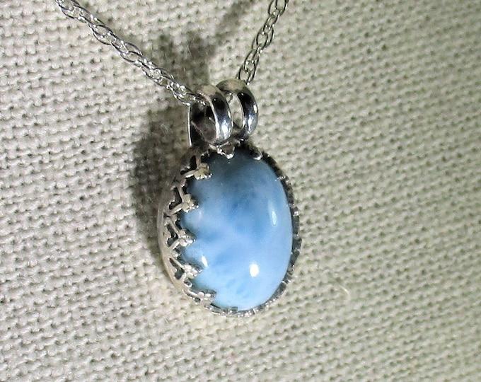genuine larimar gemstone cabachon handmade sterling silver pendant necklace