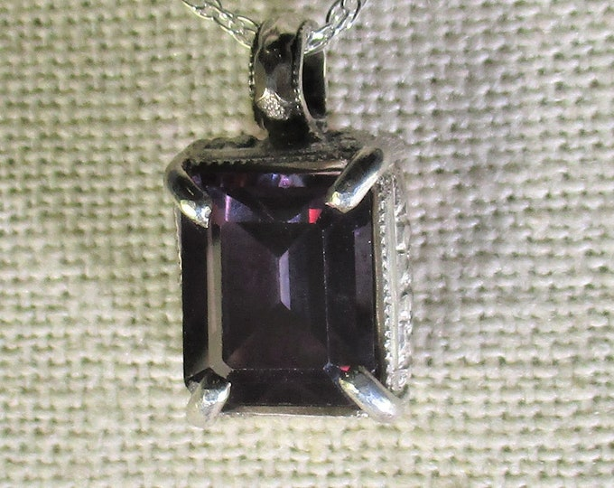 genuine purple topaz gemstone handmade sterling silver pendant necklace